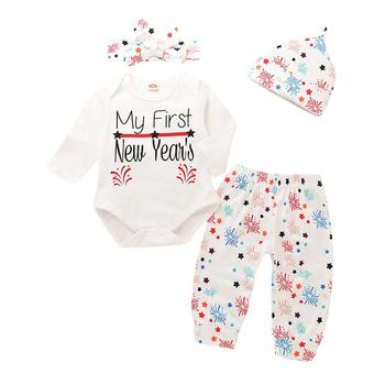 43f180b24aa8 4pcs Set Baby Boy Girl Clothes Long Sleeve 2019 New Year Letters Bodysuit  Top Fireworks Print