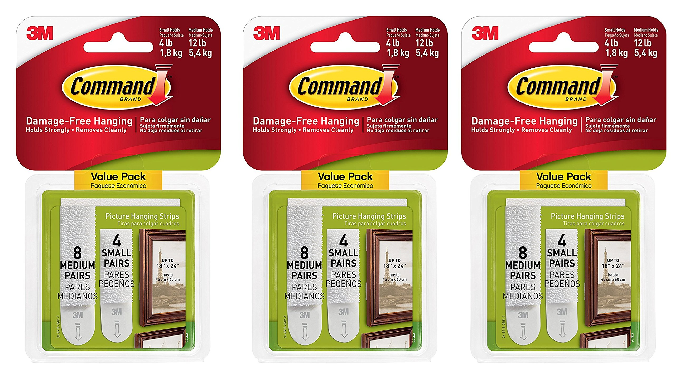 Command Picture Hanging Strips Variety Value Pack, 4-Small and 8-Medium Pairs (17203-ES), 3 Pack