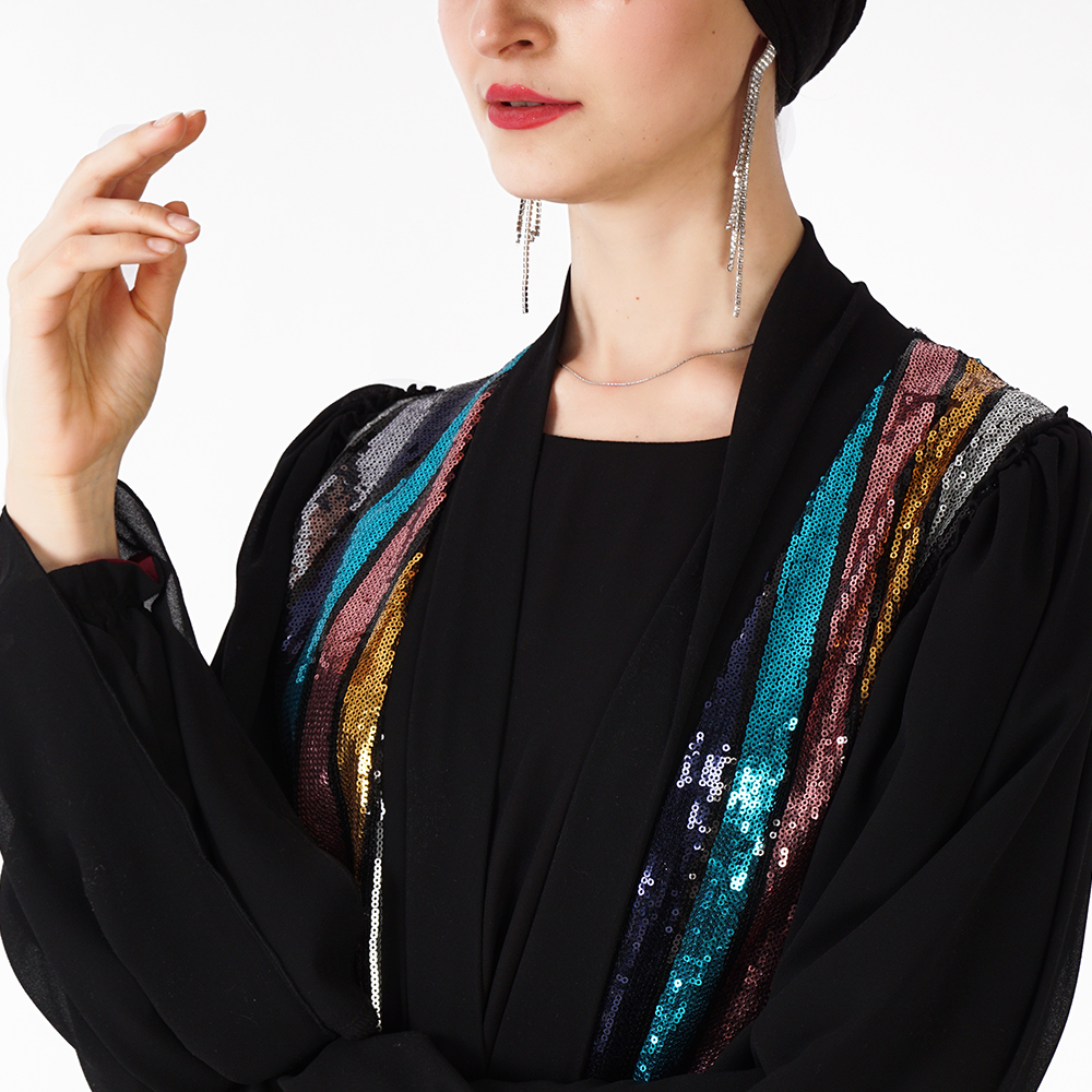 2019 summer eid moderna latest black sequined islamic clothing women abaya beaded