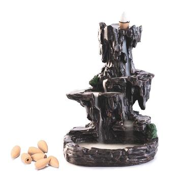 Mountain Stream Backflow Incense Burner, Handcrafted Resin Incense Cone Burner, Aromatherapy Furnace for Home Decor