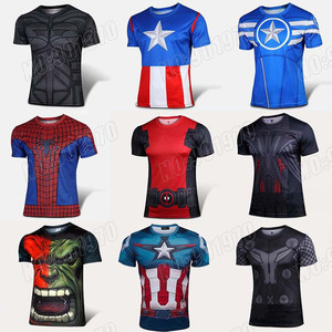 Marvel Captain America 2 Super Hero lycra compression tights sport T shirt Men fitness clothing short sleeves T shirt