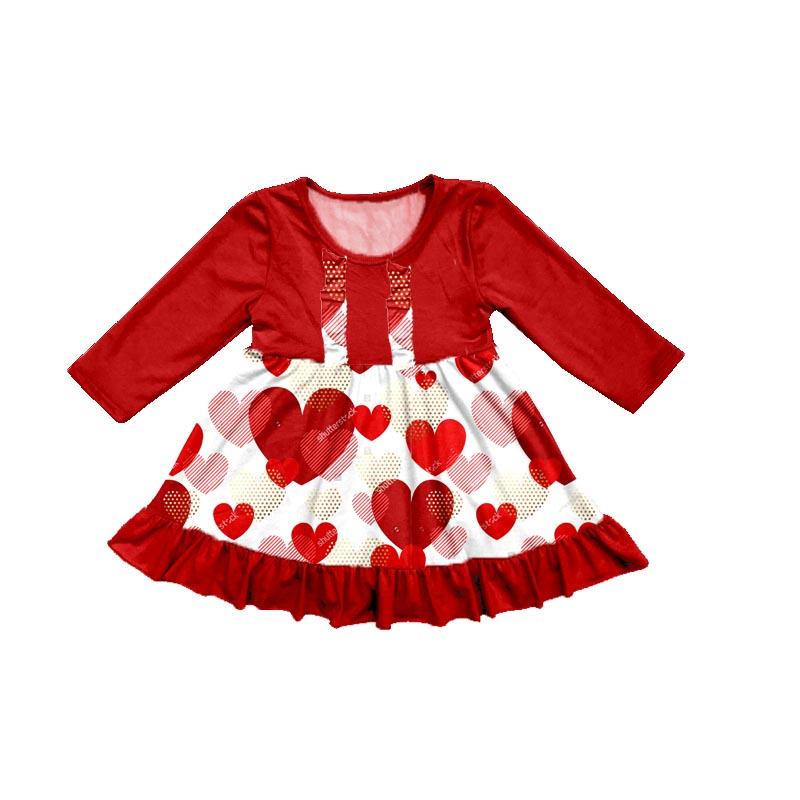 d83c1914bf8fa Yeni Stiller Tatlı Giyim Elbise Çocuklar Tatil Kalpler Desen Kırmızı Kız  Sevgililer Bahar Elbiseler