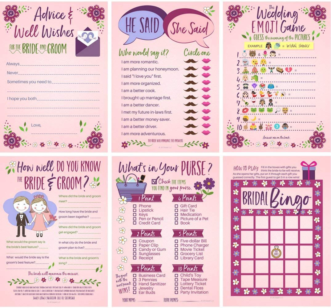 Get Quotations · 6 Bridal Shower Games for Guests (25 of Each Game) Bridal Advice & Wishes