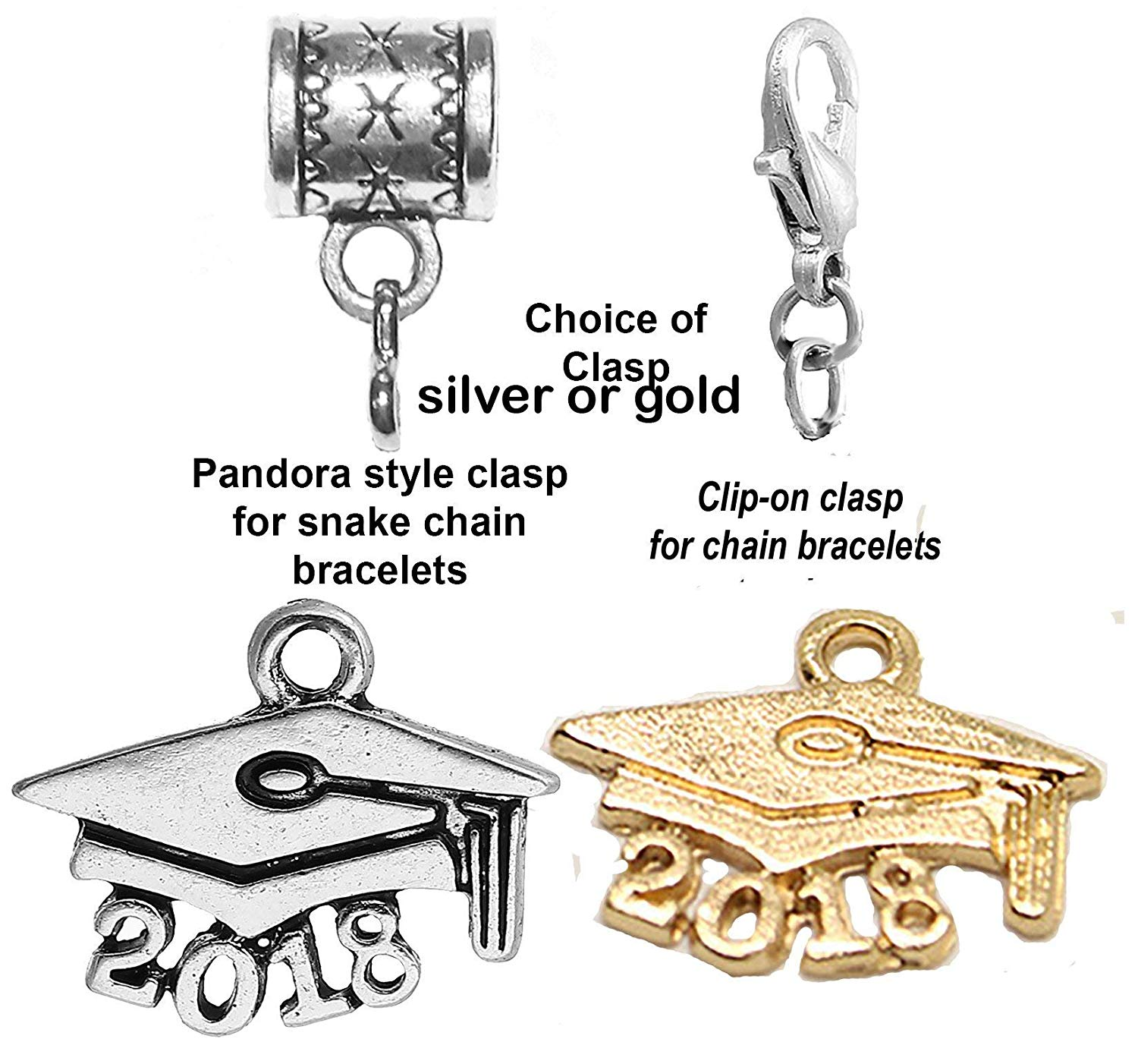 """Mossy Cabin""""Graduate 2018 charm"""" hanging charm for large hole style snake chain charm bracelets, neck chains or key chains. Choice of silver or gold and choice of clasp"""