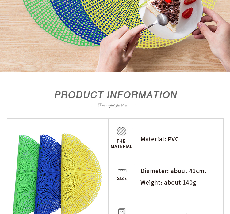 2018 new design fashionable eco-friendly pvc placemat