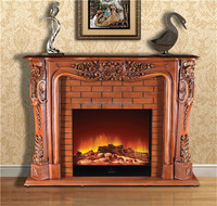 Georgian Style Carved Wood Fire Surround Fireplace, Antique Solid Wood Fireplace with Electric Insert