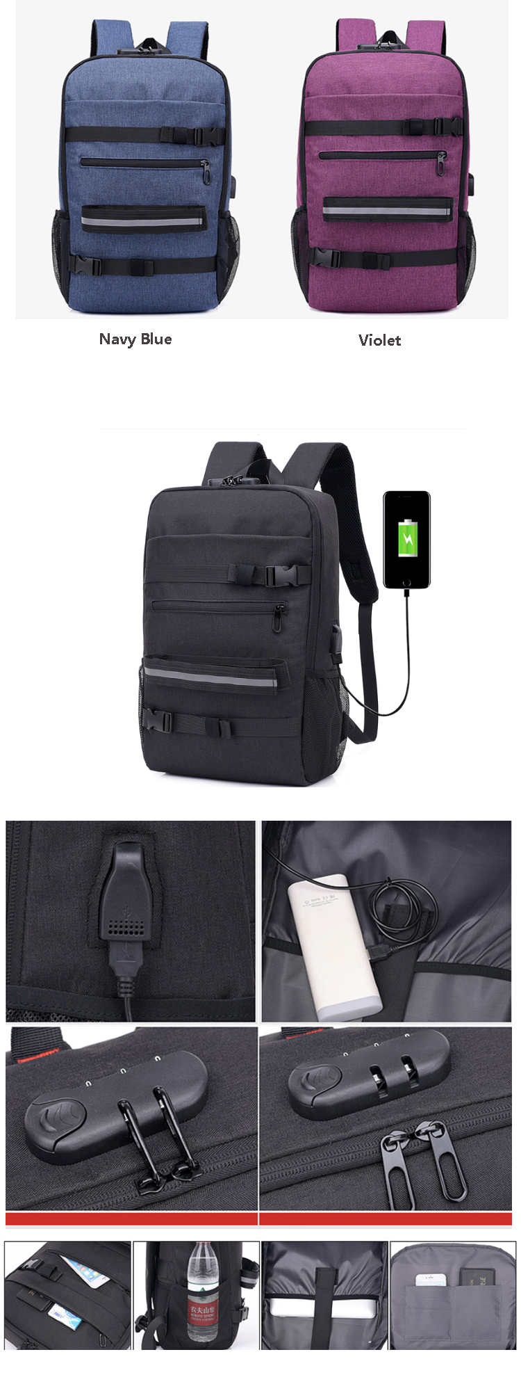 Osgoodway Multi Functional Anti Theft USB Sports Skateboard Backpack Bag with Laptop Compartment