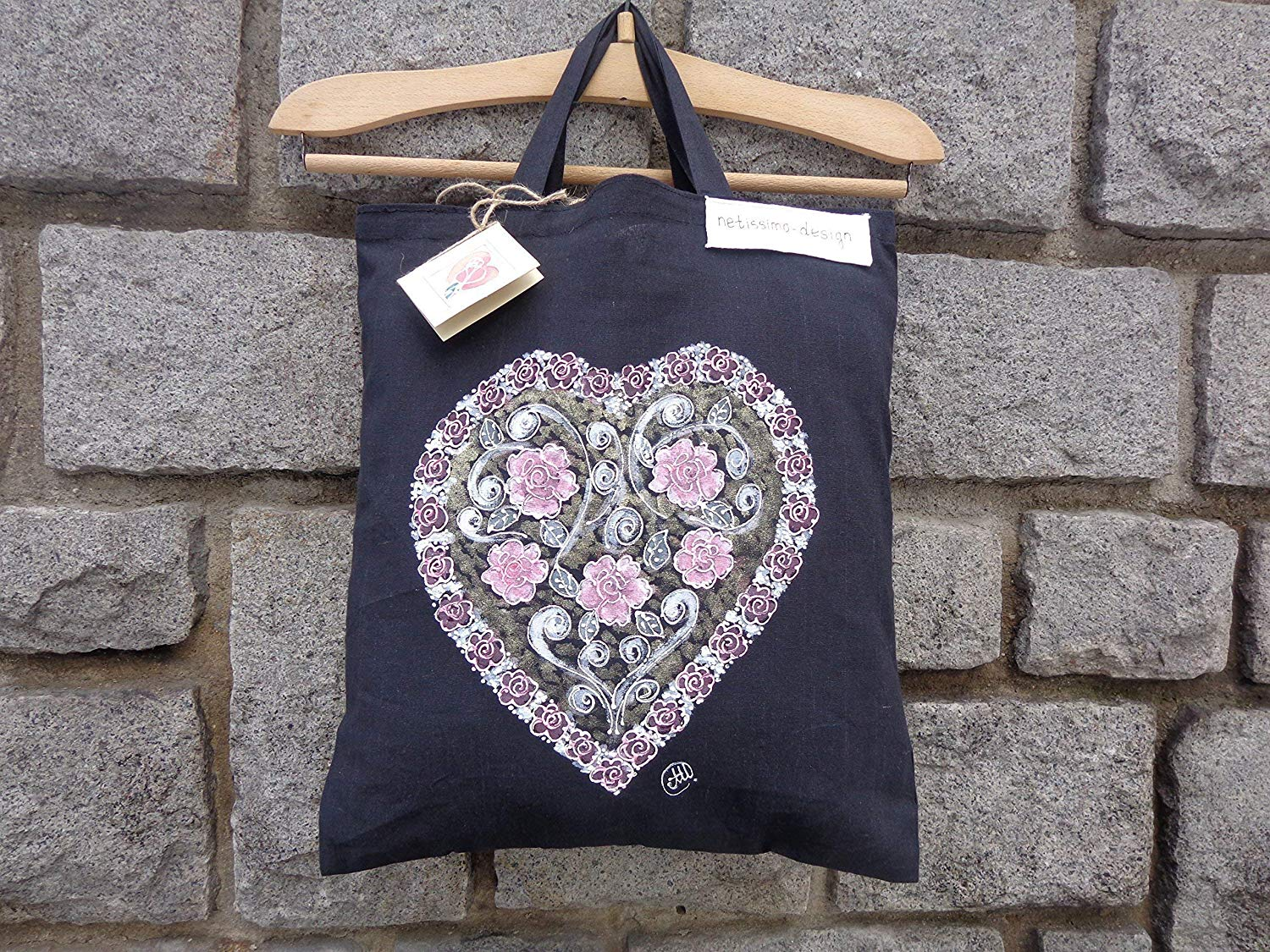 Sale!!!15% Off,Flower heart Hand Painted organic cotton tote bag,Acrylic Painted,Heart Black Tote Bag,Love Heart Valentines.