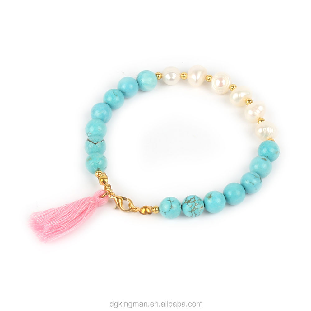 fashion two sided bicolor lovely bead pearl colorful tassel bracelet