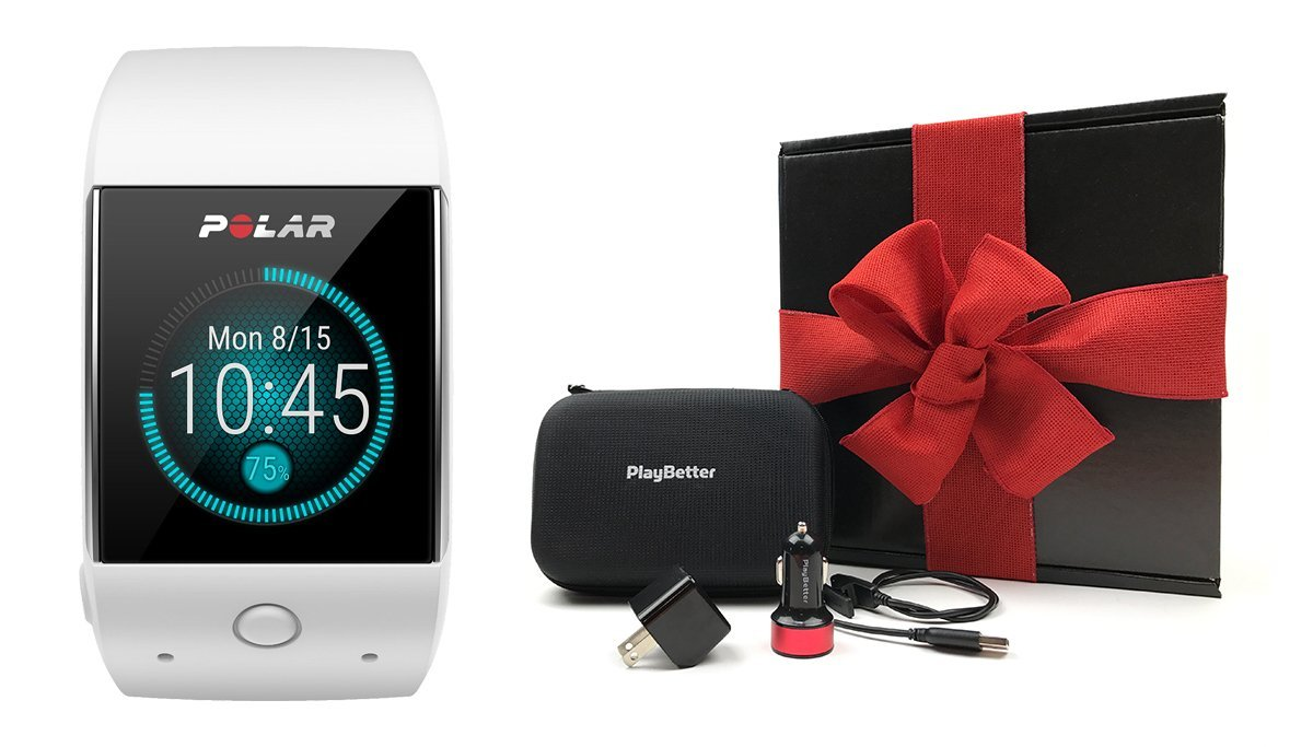 Polar M600 (White) Gift Box Bundle | Includes Polar GPS Sports Smart Watch (with Wrist HR), PlayBetter USB Car & Wall Charging Adapters, Protective Hard Carrying Case