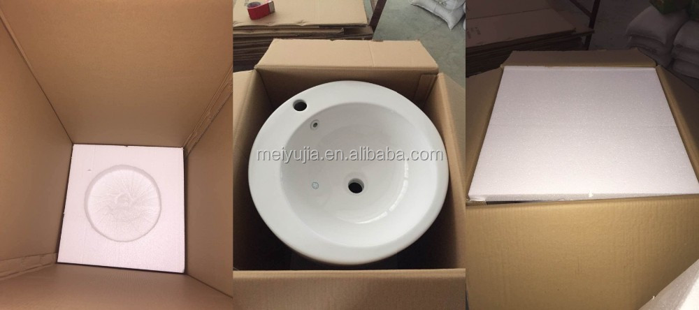 G-018 Small ceramic free standing one piece pedestal basin