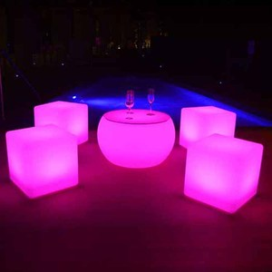 Waterproof outdoor party/event illuminated cube chair, lighted up outdoor furniture led cube seat