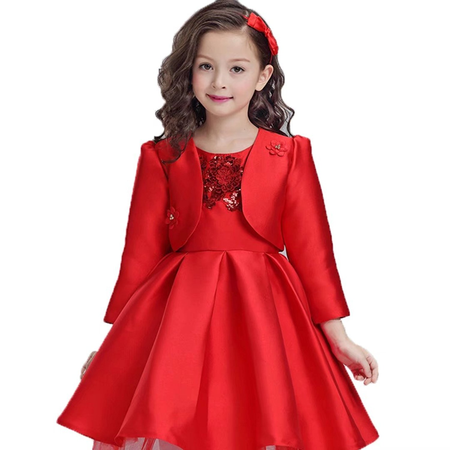 Cheap red and gold flower girl dresses find red and gold flower get quotations adhs flower girl special occasion wedding gowns chinese style red dresses izmirmasajfo