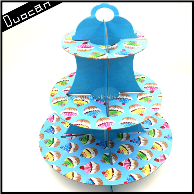 colourful wholesale disposable cardboard 3 tier cupcake stand for party