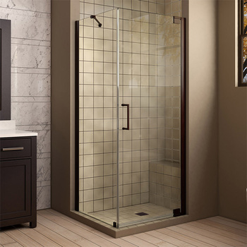 Customized 6 8m Frameless Tempered Glass Shower Door With Pivot Hinges