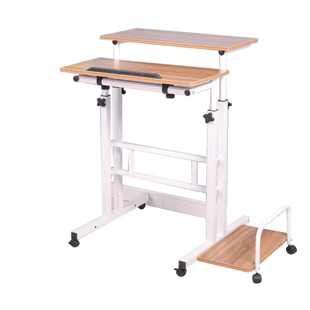 Stands DD Standing Computer Desk, Notebook Desktop Table,   Lift Mobile Desk Workbench -Convenient Table (Color : Ancient Oak)