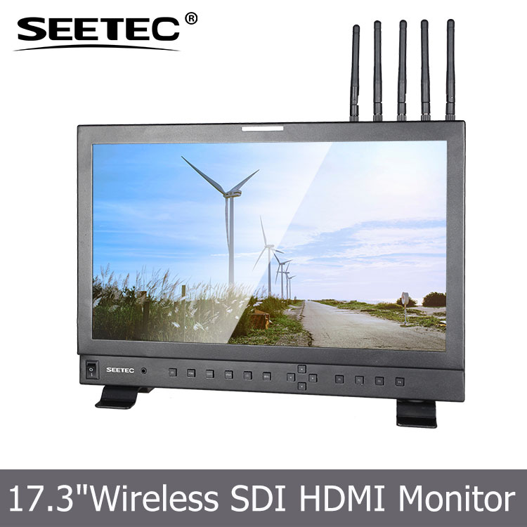 high resolution 17.3 inch broadcasting vehicle 300M HD video receiver hdmi transmitter wirelee monitor