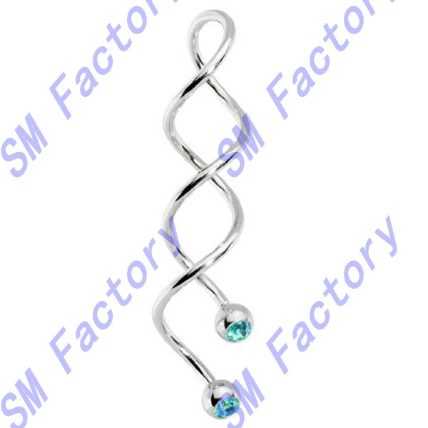 hypoallergenic unique spiral long twist aqua gem balls belly button or industrial navel ring earring body jewelry --SMDQD42021