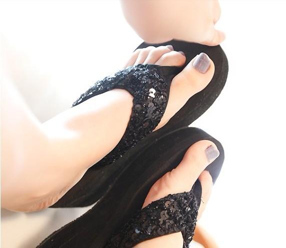 Get Quotations · Platform Platform Slippers High Heel Paillette Women Flip  Flops Beach Slippers Casual Slippers