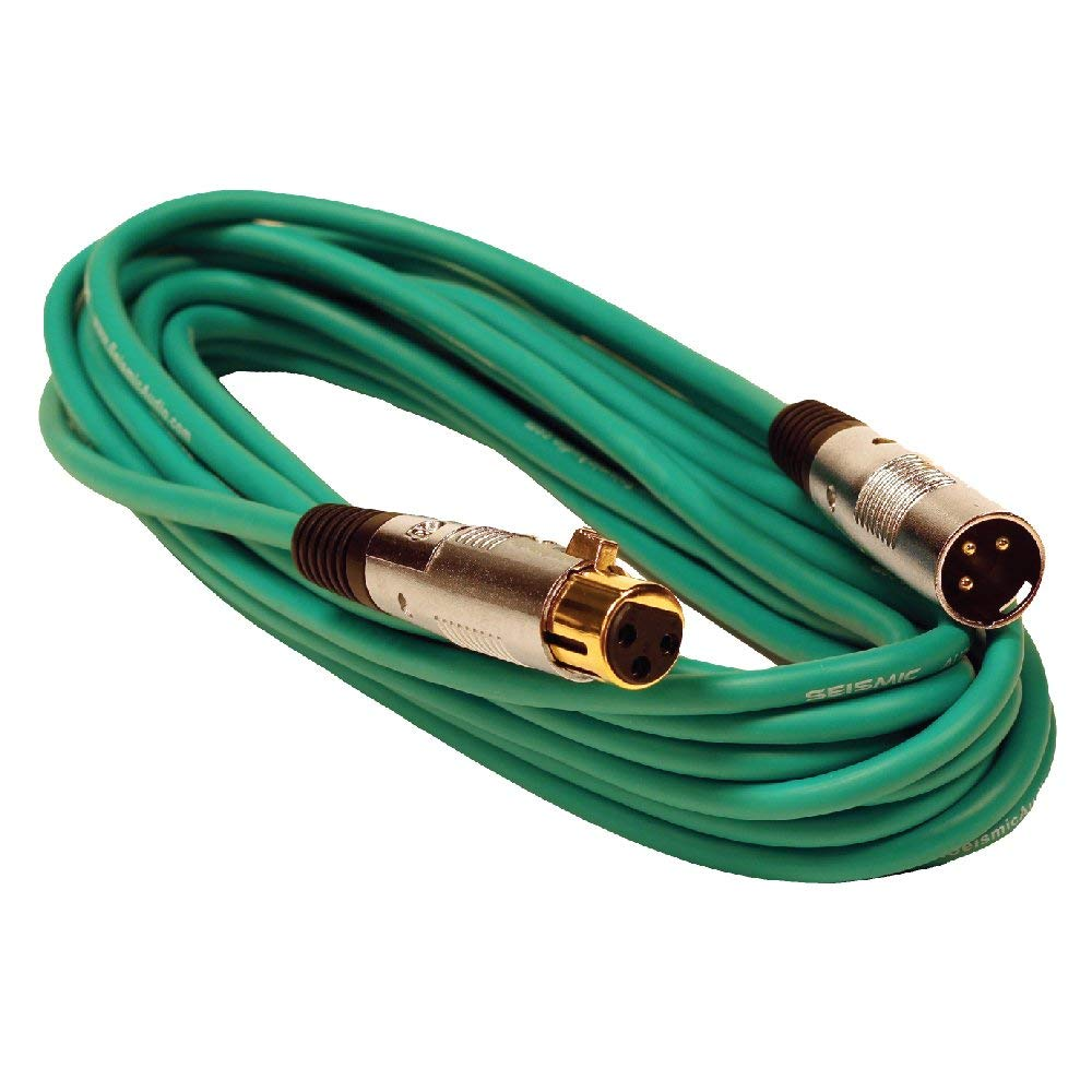 Seismic Audio SAPGX-25Green Premium 25' XLR Microphone Cable Cord - 3 Pin XLRF to XLRM Mic Cord, Green