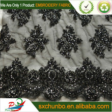 2013new style black color beaded and sequins mesh ribbon embroidery fabric for wedding and evening dresses 2013