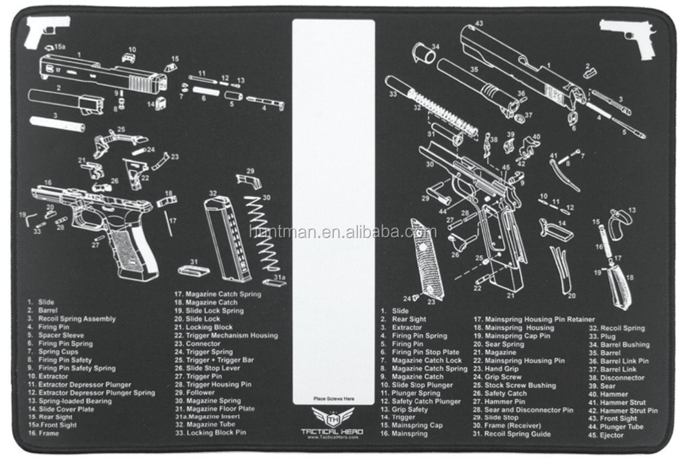 18x12 Handgun Cleaning Bench Mat Glock & 1911 Diagrams - Waterproof Coating,Thick 2mm Pad & Stitched Edges