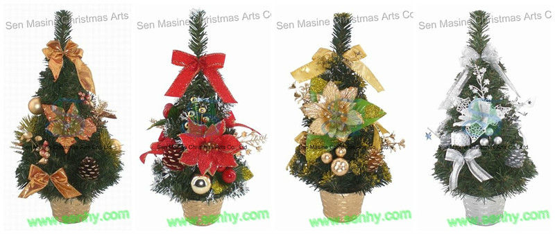 Color Green Xmas Table Tree With Red/Gold Decoration