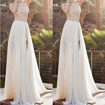 F10060a New Style Maxi Dress Lace Splice Long For Las