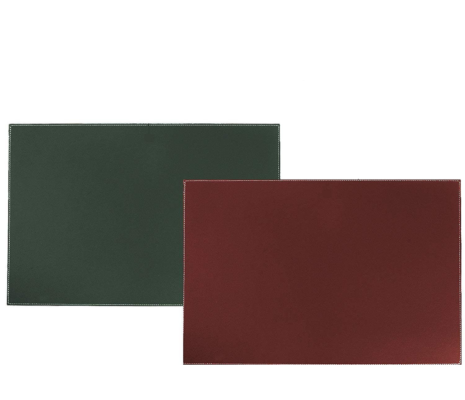 Desk Pad Blotter Protector Comfortable With Faux Leather Feels Smooth And Sturdy With Reversible Style Colors Forest Green To Burgundy, Size 16 X 24 Inches.