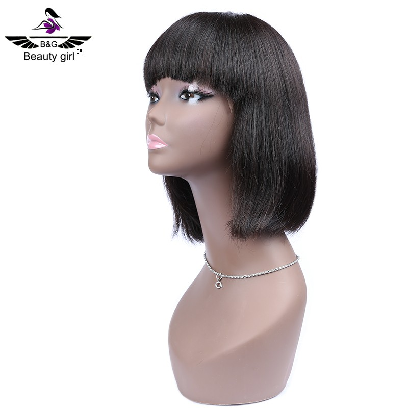 The glue men human hair blunt cut lace wig