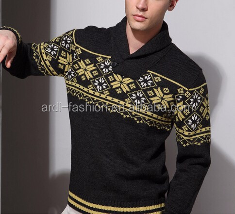 New Design Snow Knitting Pattern Shawl Neck Mens Jacquard Sweater
