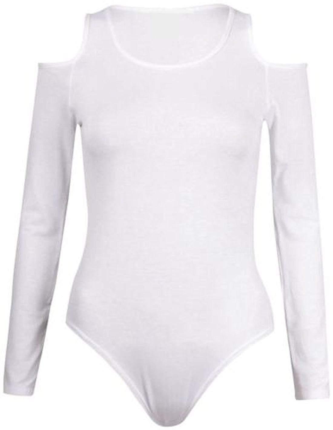 0f9d0a9e7da8 Get Quotations · REAL LIFE FASHION LTD Ladies Style Cold Shoulder Bodysuit  Womens Long Sleeve Cut Out Leotard Body