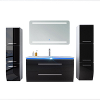Home furniture with led mirror pvc wood bathroom cabinet