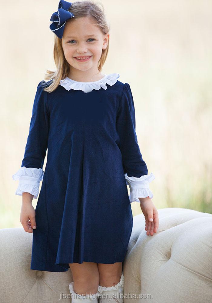 df0c9db8262b ruffle around neck navy school corduroy fall baby girl dress, View baby  girl dress, Jisen Fashion Product Details from Dongguan Jisen Fashion Co.,  ...