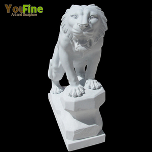 Front Gate White Stone Life Size Marble Tiger Statue for Sale