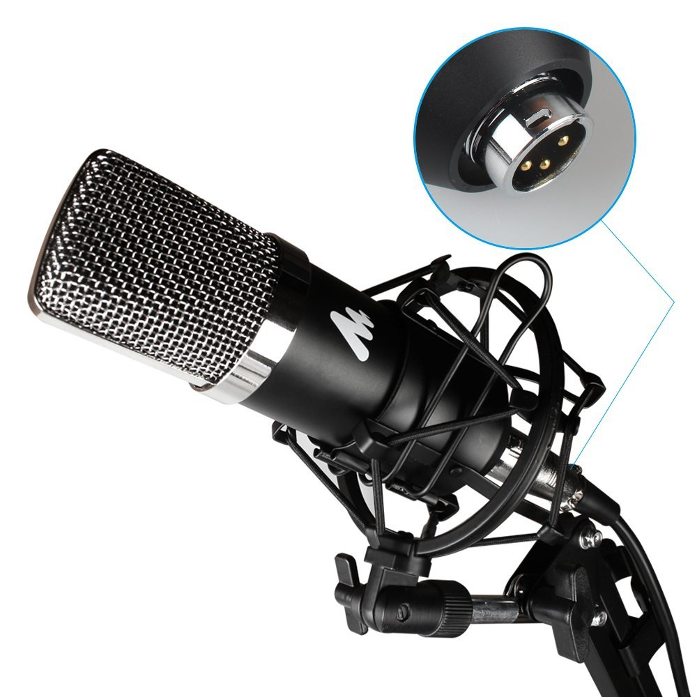 Portable Cardioid condenser microphone for podcasting vocal Skype mic set