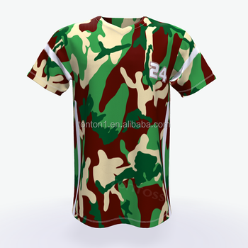 Custom sublimatie jeugd camo honkbal jerseys