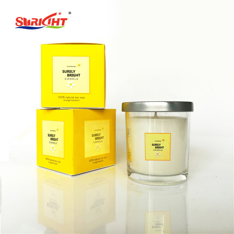 Orange Blossom Aromatic Yellow Box Label Customized Candle with Metal Lid