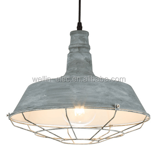 Etching Finished Iron Pendant Light with Metal Cage, E26/E27 Edison Bulb Hanging Light
