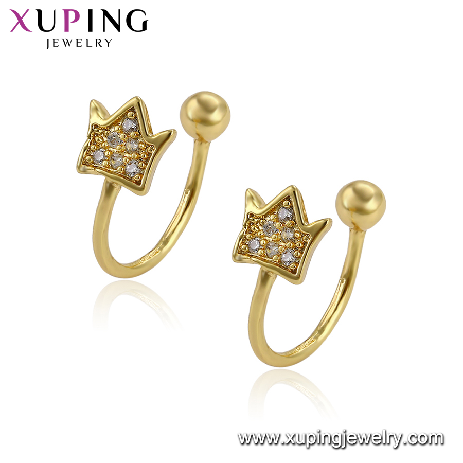 96096 xuping elegant king crown shape gold plated copper alloy earring