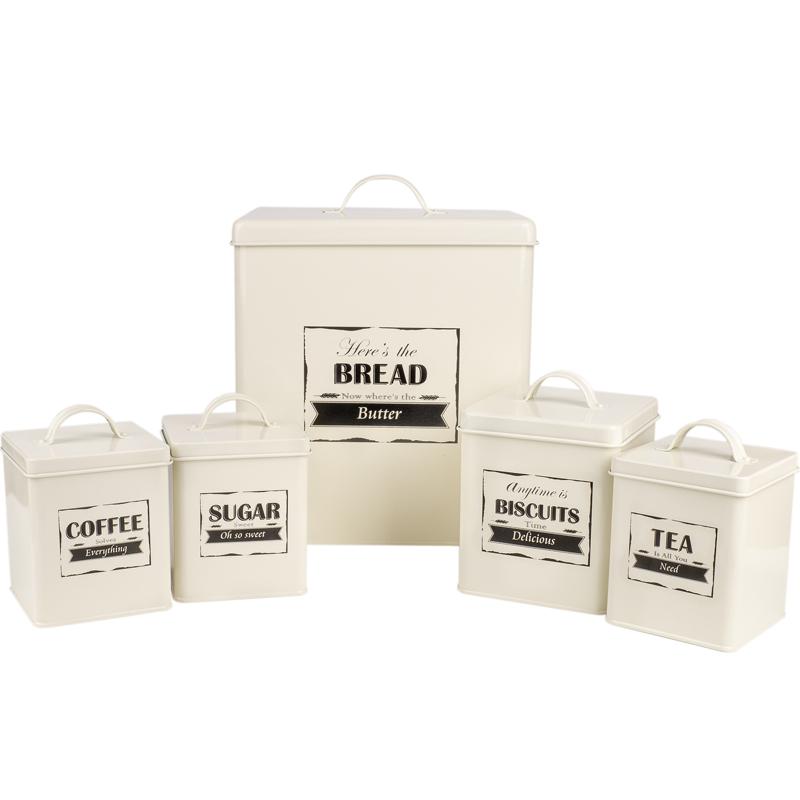 Metallic Roll Top Bread Bin Tea Coffee Sugar Jar Canister Sets Kitchen Storage