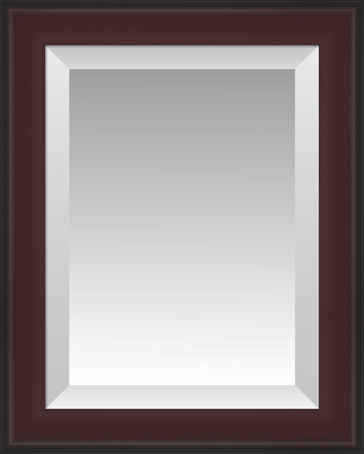Formal Dark Cherry with Black Outer Edge Beveled Wall Mirror, Size 19.5 X 23.5