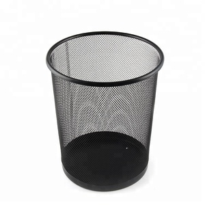 Office Stationery 3 Size Round black mesh trash can Wire Metal Paper Waste Bin