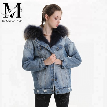 256d141d7d Women Winter Removable Parka Coat Wholesale Real Fox Fur Lined Denim Jacket  with Raccoon Fur Collar
