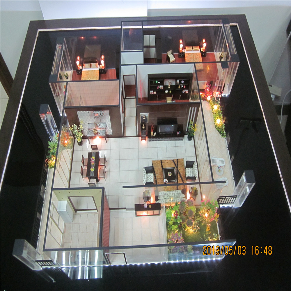 Barano Model Home Interior Design: Internal Layout Scale House Model With Furniture And Lamps