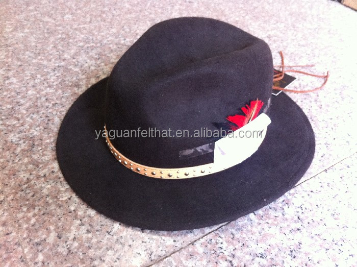 top grade dedora hats,wool felt male fedora hat with bird fur decoration