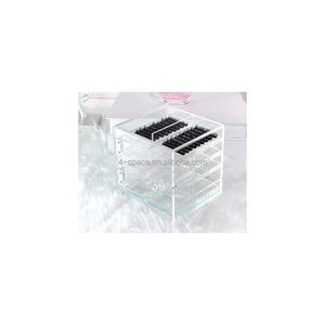 4 layer transparent acrylic eyelash display rack clear compartmental perspex cosmetics storage box with metal component