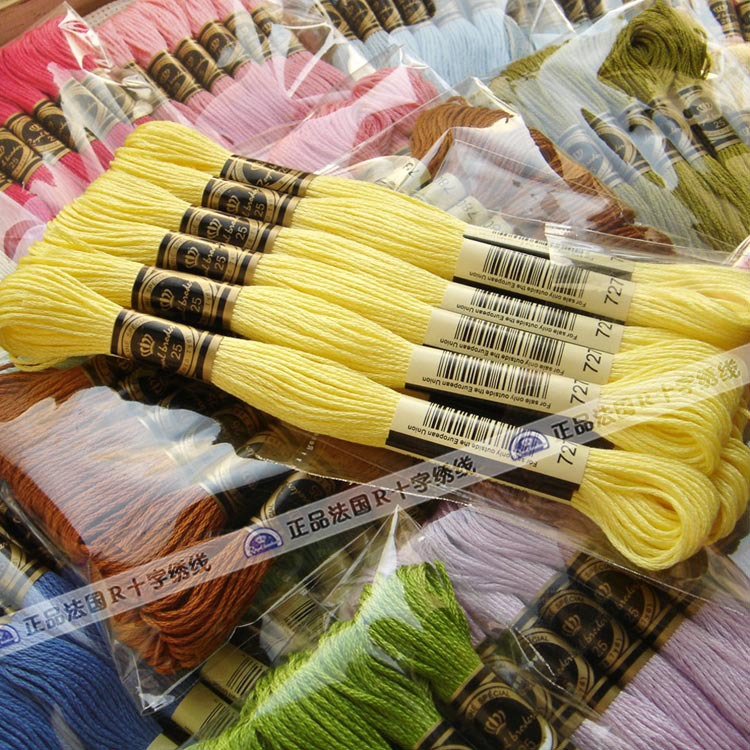 100% Cotton Embroidery Threads Cross Stitch Thread With Dmc 447 ...