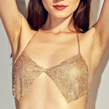 152f86e0f2 Fashion Sexy Beach Bralette gold silver rhinestone chest chain Bikini Bra  Body Chain