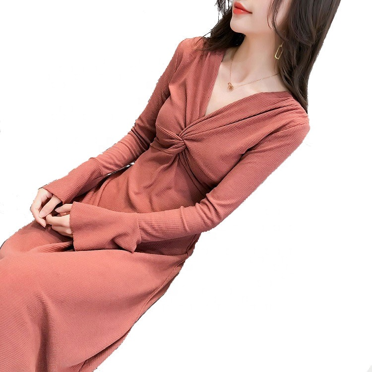 Spring and autumn popular new French Victoria style Knitted mandarin sleeve women's one-piece dress